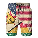 WowMyGod Short de Plage pour Homme Men's Dry Swim Trunks American and Zimbabwe Retro Flag Swimwear Beach Trunks for Outside Home with Pockets
