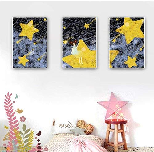 Impresión de Lienzo 3 Piezas 30x50cm sin Marco Dibujos Animados Meteor Shower Girl Posters e Impresiones Nursery Baby Wall Art Habitación de bebé Decoración nórdica Hogar