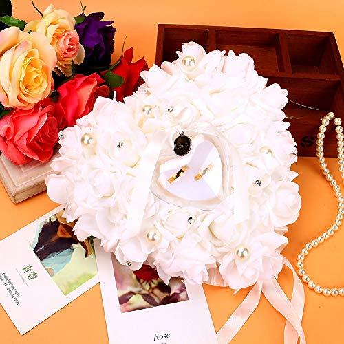 Porte-alliances en forme de cœur Décoré de roses romantiques 15 x 13 cm Écrin pour bagues ou dragées de mariage, Oreiller Anneau de Mariage, anneau coussin oreiller bague coussin