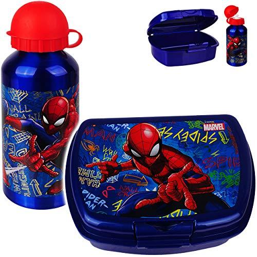 alles-meine.de GmbH 2 TLG. Set: Trinkflasche + Lunchbox / Brotdose - Spider-Man - BPA frei - mit extra Einsatz / herausnehmbaren Fach - Brotbüchse Küche Essen - für Jungen Junge ..