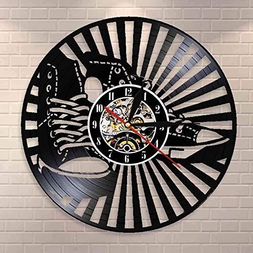 Sam Hall Decoración del hogar del Reloj de Pared del Disco de Vinilo de 12 Pulgadas Zapatillas Zapatos Zapatos de Lona de Cuero Corriendo High Top Chick