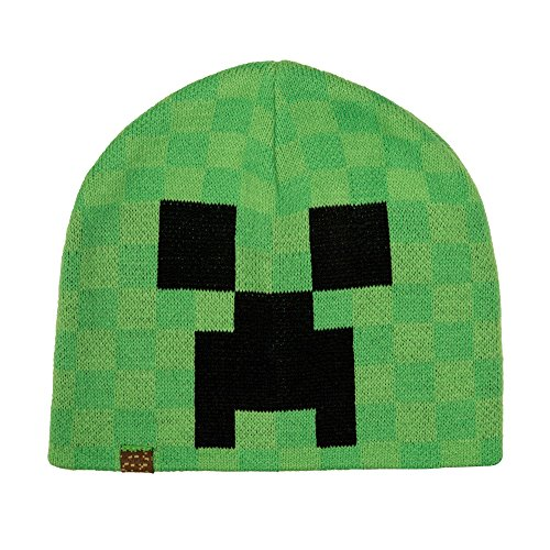 JINX Minecraft Creeper Face Knit Beanie, Green, S/M