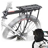 Malayas Portaequipajes Soporte Trasero Aleación de Aluminio Bicicleta Portabultos Ajustable con Reflector Rojo Capacidad de Carga 50kg,