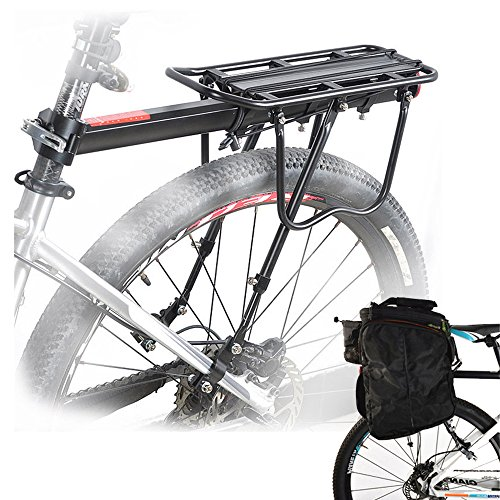 Malayas Bicycle Rear Rack Carrier Rack Holder Adjustable Rear Bicycle Black Seat Holder Luggage Cargo Carrier with Reflector 50KG Capacity