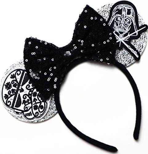 CLGIFT Star Wars Ears, Black Mouse Ears, Darth Vader, Mickey Mouse Ears (Storm Trooper)