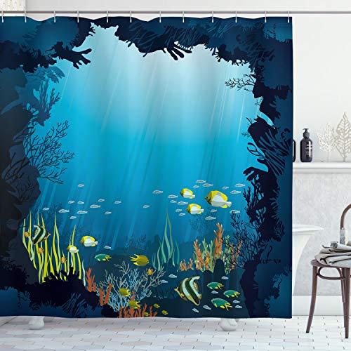 ABAKUHAUS Ozean Duschvorhang, Tropische Fische & Riffe, Wasser Blickdicht inkl.12 Ringe Langhaltig Bakterie & Schimmel Resistent, 175 x 180 cm, Dunkelblau