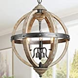 KSANA Farmhouse Chandelier for Dining Room, Wood and Metal Chandelier for Entry Way, Rustic Finish, 3-Light, 15.7' Dia