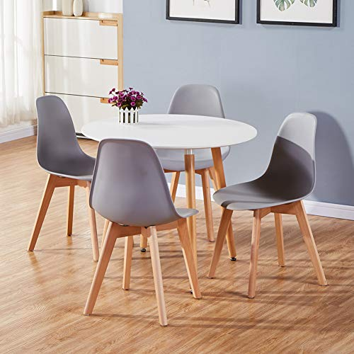 GOLDFAN Dining Table and Chairs Set 4 Modern Round Kitchen Table and 4 Chairs High Gloss Dining Table Set,90cm/Grey