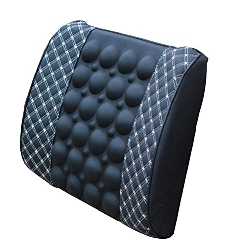 WINOMO Auto Rückenkissen Lendenkissen Elektrische Massagekissen für Auto Büro (Schwarz und Weiß)
