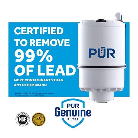 PUR RF3375 Water Filter Replacement for Faucet Filtration Systems, 2 Pack, Multicolor 3 PUR BASIC WATER FILTER REPLACEMENT: PUR's genuine faucet filters are certified to reduce over 70 contaminants, including 99% of lead, so you know you are drinking cleaner, great-tasting water FAUCET WATER FILTER: PUR faucet filters provide 100 gallons of filtered water, or 2-3 months of typical use, before you need a replacement. Only PUR faucet filters are certified to reduce contaminants in PUR faucet filter systems WHY FILTER WATER? Home tap water may look clean, but may contain potentially harmful pollutants & contaminants picked up on its journey through old pipes. PUR water filters, faucet filtration systems & water filter pitchers reduce these contaminants
