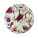 Reloj de Pared Digital Redondo,Antecedentes Londres Retro de la tipogra,Decoración casera rústica silenciosa Que no Hace tictac con Pilas de Madera para la Sala de Estar de 10 Pulgadas