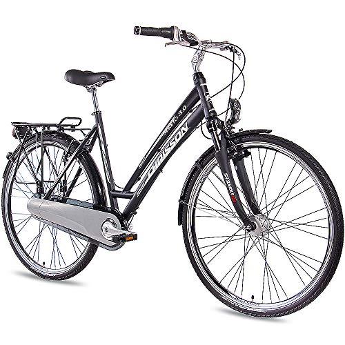 CHRISSON 28 Zoll Damen City Bike - Sereto 3.0 schwarz - Damenfahrrad mit 7 Gang Shimano Nexus Nabenschaltung, Rücktrittbremse und Nabendynamo, Cityrad mit Suntour Federgabel
