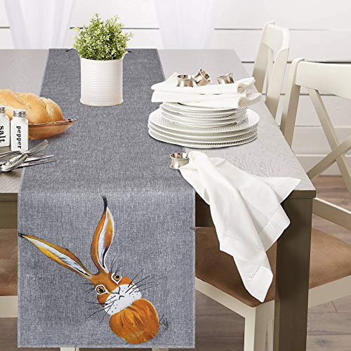yuboo Burlap Easter Table Runner, 13'x72' Gray Bad Bunny Table Linen for Farmhouse Rustic Spring Holiday Party Home Decor