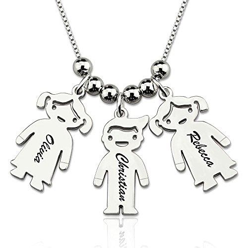 Zhaolian888 Collana con Nome Madre Personalizzata con Tre Gioielli per Bambini - Personalizza Qualsiasi 3 Nomi