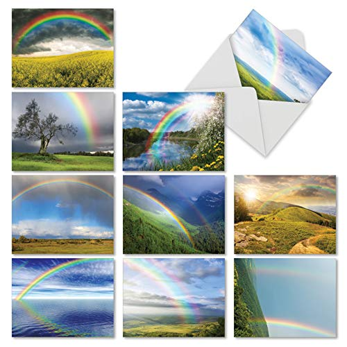 10 Note Cards with Envelopes - Assorted Rainbow Bright Blank Greeting Cards - Beautiful All-Occasion Cards for Birthday, Thank You, Congrats - Stationery Notecards 4 x 5.12 inch - M4963OCB-B1x10