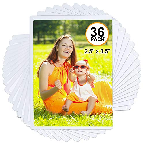 magnetic picture frames Tebik 36 Pack Magnetic Picture Frame, Holds 2.5X3.5 Inches Photos Pictures, White Magnetic Photo Frames with Clear Pocket for Refrigerator,Fridge, Locker, Office Cabinet