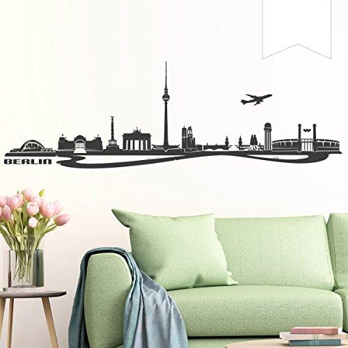 WANDKINGS Wandtattoo - Skyline Berlin - 200 x 64 cm - Weiß - Wähle aus 6 Größen & 35 Farben
