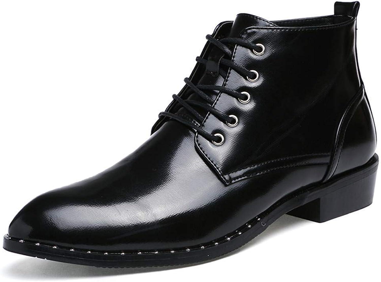 FuweiEncore 2018 Men Business Oxford Casual Autumn Winter New Vintage High-Top Lace Formal shoes (color  Silver, Size  38 EU) (color   Black, Size   41 EU)