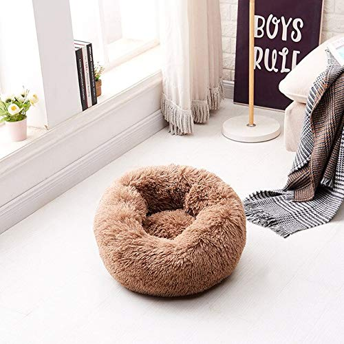 Decanyue 40-80cm Fluffy Pet Bed Dog/puppy Fur Donut Cuddler Soft Cushion Plush Round Creative Kennel Cat Litter Plush Pet Nest XS-40cm brown