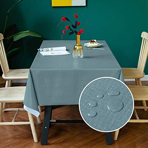 Carvapet Rechteckige Tischdecke Abwischbar Wasserdicht Tischtuch PVC Tischdecken Outdoor Innenbereich Tischabdeckung für Speisetisch Küchentisch (Blau, 137x185cm)