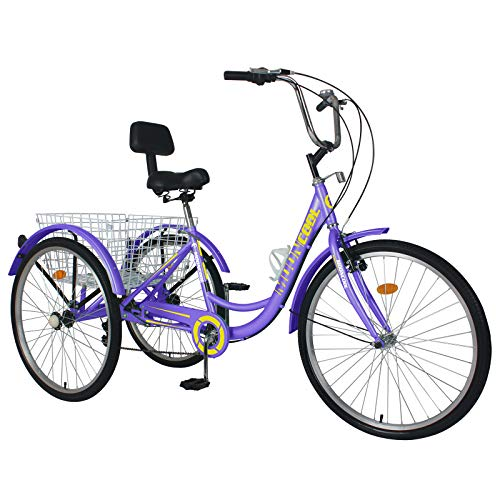DoCred Adult Tricycles, 3 Wheel Bikes for Adults 24 inch 7 Speed Adult Trikes Bicycles Cruise Trike with Shopping Basket for Seniors, Women, Men