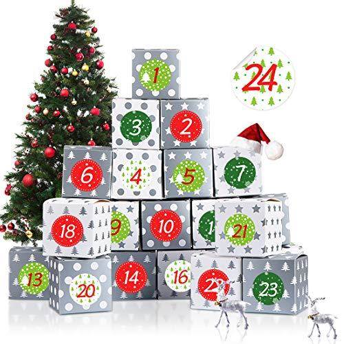 Bluelves Adventskalender zum Befüllen, Adventskalender Boxen, 24 Adventskalender Kisten, 1-24 Adventszahlen Aufkleber für DIY Weihnachtliche Dekoration, Rot / Grün / Scheck