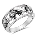 White CZ Filigree Elephant Ring .925 Sterling Silver Bali Bead Band Size 8