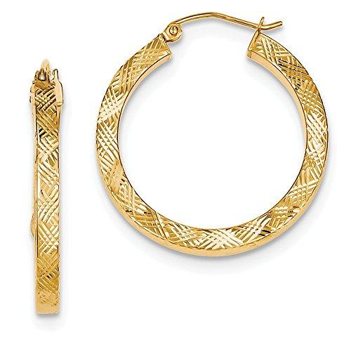 Pendientes de aro de plata de ley 925 chapados en oro de 3 x 30 mm