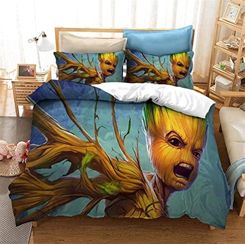 YBBY-U Marvel Groot Guardianes de la Galaxia - Juego de cama infantil (funda nórdica de 135 x 200 cm y funda de almohada de 135 x 200 cm + 75 x 50 cm x 1)