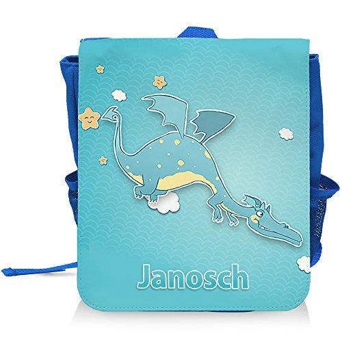 Kinder-Rucksack mit Namen Janosch und lustigem Drachen-Motiv für Jungen