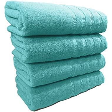 """Classic 100% Turkish Cotton Towel Set With Embroidered Lustrous Dobby – Extra Absorbent, 600 GSM, 4 Piece Set, 27"""" x 54"""""""