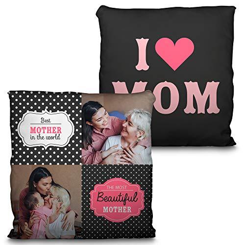 LolaPix Cojin Foto Mama Personalizado. Regalos Dia de la Madre Personalizados. Impresión Total 2 Caras hasta la Costura. Relleno Incluido. Varios Tamaños. For Mom