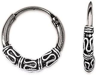 Pendientes de aro de Bali, de plata 925/000 - 14 mm de diámetro