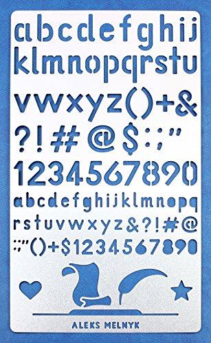 Aleks Melnyk #34.3 Schablone/Metall Stencil Vorlagen for Painting/Buchstaben, Zahlen, Alphabet/1 Stück/DIY Kunst Projekte/Stencil für Scrapbooking und Zeichnen/Brandmalerei Schablone/Basteln