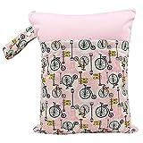 HHuin Bolsa impermeable y reutilizable para pañales de tela húmedos con bolsillo con cremallera, bolsa de viaje, organizador para bebés y niños pequeños