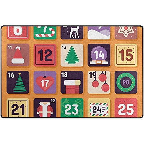 Seily - Felpudo antideslizante para alfombra de suelo, de tejido de poliéster con calendario festivo, calendario de adviento para salón, dormitorio