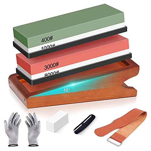 pentaQ Knife Sharpening Stone Kit with Angled Base, Double-Sided 400/1000 & 3000/8000 Grit Professional Whetstones, Wet Stone Sharpening Kit with Gloves, Leather Strop, Angle Guide & Flattening Stone