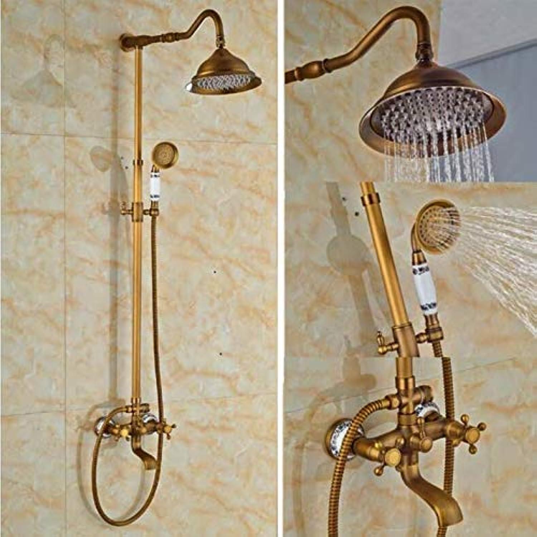 Makej Antik Messing 8 Runde Regen Dusche Wasserhahn + Handbrause + Wanne Auslauf Dual Cross Griffe