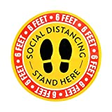 10-Pack 12'' Non-Slip Social Distancing Floor Decal Sticker Round Sticker Feet Floor Sign for Outdoor Store
