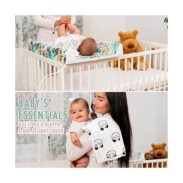 Manta Bebe de Algodon Orgánico – 4 Muselinas Bebe 80×80 cm 100% Algodón Organico – Para Niña y Niño – Perfectas para el…
