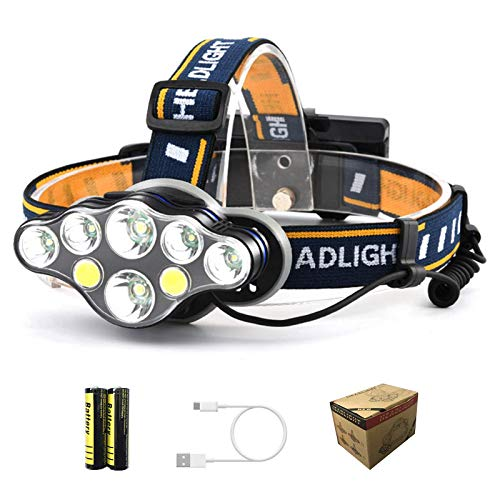 TLARNMERN Rechargeable Headlamp, 8 LED 18000 Lumen Headlamp with 1 USB...