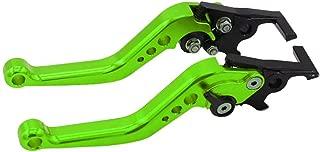 Ugthe 1 Pair Motorcycle Motorbike CNC Metal Adjustable Hand Lever Brake Handle Grip - Green