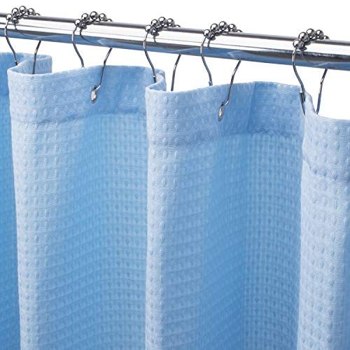 AmazerBath Waffle Shower Curtain, Heavy Duty Fabric Shower Curtains with Waffle Weave Hotel Quality Bathroom Shower Curtains, 72 x 72 Inches (Blue Honeycomb)