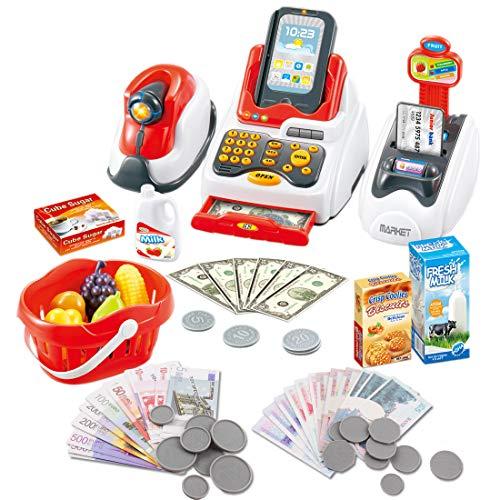 deAO Till Toy voor Kids Pretenderen & Spelen Supermarkt Kassa Set met Scanner, Credit Card, Play Food, Geld en Kruideniers Winkelmandje voor Jongens en Meisjes
