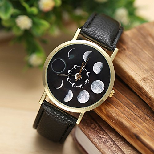 JSDDE Uhren,Fashion Damen Mondfinsternis-Muster Armbanduhr kein-Zifferskala Damenuhr Lederarmband Analog Quarzuhr,Schwarz - 2