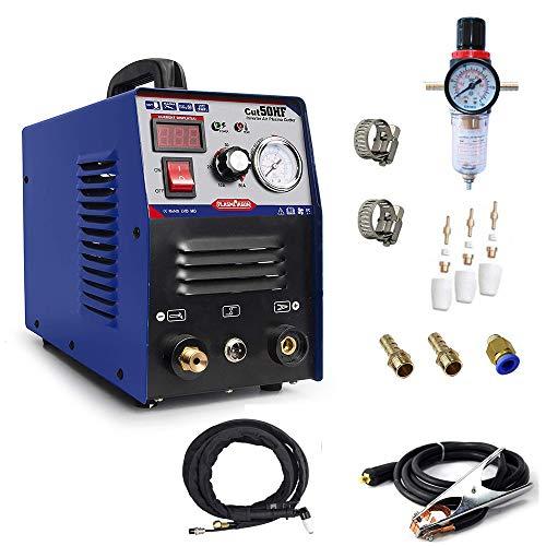 "PLASMAGRON Air Plasma Cutter 50A Compact Metal Cutter 1/2"" Clean Cut Dual Voltage 110V 220V Scrach Start Arc HF Plasma Cutter Machine Cut50"