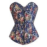 Josamogre Corset Disfraz Sexy corsés de Bustier Encaje Flores diseño Vaquero Vintage Elegante Top Azul L