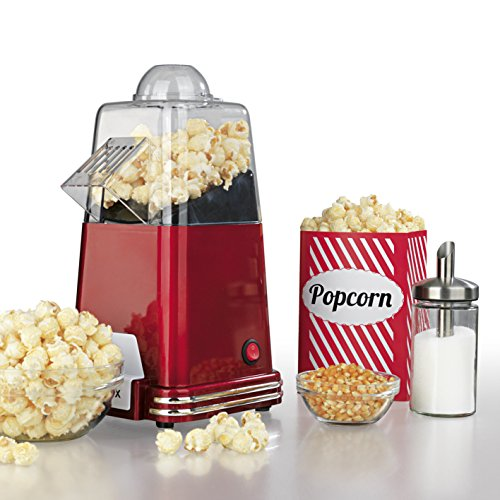 GOURMETmaxx Popcorn-Maschine 1000W In nostalgischem Retro-Design (Zubereitung durch heiße Luftzirkulation - ganz ohne Öl, Extra schnell in nur 2-4 Minuten, wahlweise süßes oder salziges Popcorn)