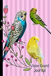 Vision Board Journal: 2020 Monthly Goal Planner Tracker Notebook Parakeet Birds Pink Cover