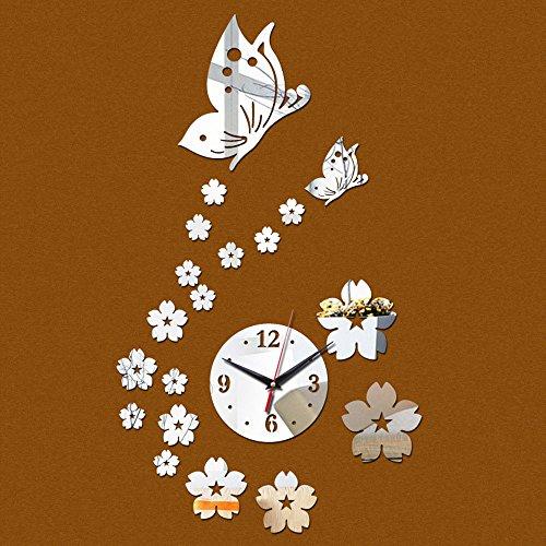 SYT Wall Stickers Diy miroir horloge murale Acrylique 3d autocollants décor Salon cadeau meubles à la maison papillon autocollant, argent